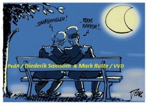 Twee politici Rutte - .... op bankje 60 proc + namen